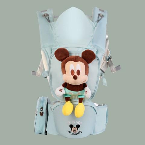 Disney 迪士尼 迪士尼婴儿背带前抱式前后两用抱娃神器宝宝坐多功能腰凳轻便四季 绿色米奇