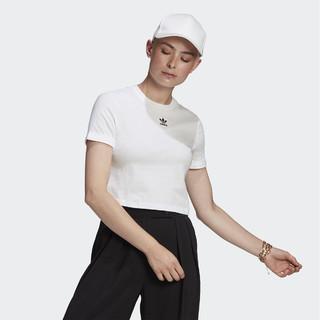 adidas Originals 2021春季新款三叶草女子针织T恤时尚圆领短袖运动休闲上衣女装