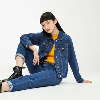 GIORDANO 佐丹奴 女式外套2021春季新款纯棉宽松休闲翻领短款牛仔夹克衫