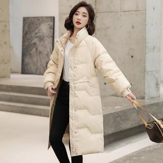 高梵亮面羽绒服女中长款2021冬季新款时尚韩版长款白鸭绒加厚外套