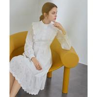 PLUS会员:FANSILANEN 范思蓝恩 Z210212 女士镂空小白裙