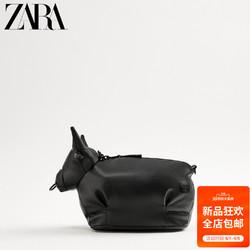 ZARA 新款男包黑色动物形复古休闲迷你腰包斜挎包潮包 13511720040