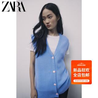 ZARA  新款 女装 人造珠宝纽扣针织背心 09598007420