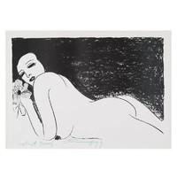 HOWstore 丁雄泉限量艺术版画 红唇时期黑白美女之五