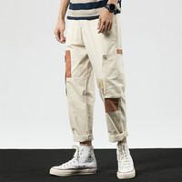 C&A 2021夏季新款时尚休闲裤拼接薄款男士九分裤撞色修身百搭长裤子