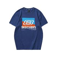 SKECHERS 斯凯奇 Skechers斯凯奇短袖t恤运动休闲时尚T恤男女款印花针织短袖衫