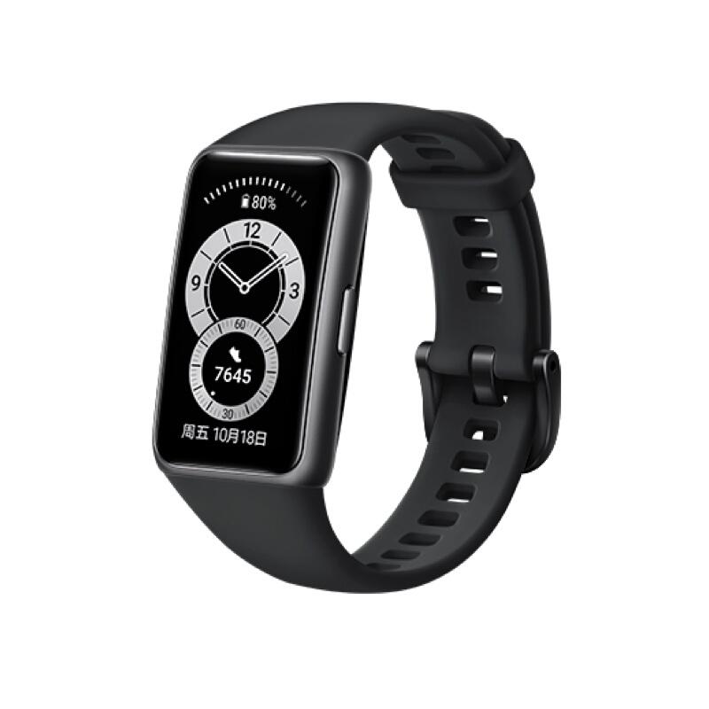 限地区 : HUAWEI 华为 手环6 智能手环 NFC版 曜石黑
