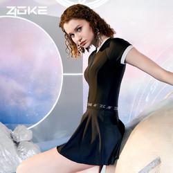 ZOKE 洲克 洲克 ZOKE 泳衣女连体裙摆太空系列素色修身遮肚休闲女士游泳衣120601537 黑色 XL