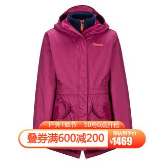 Marmot 土拨鼠 Marmot/土拨鼠秋冬运动防风保暖抓绒三合一冲锋衣女童户外 紫红6440 L-140