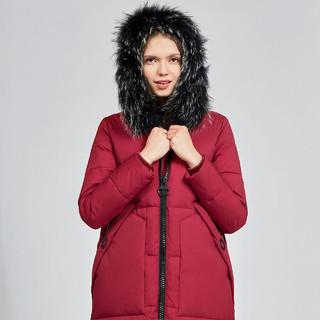 SNOW FLYING 雪中飞 女士中长款连帽大码大毛领加厚保暖羽绒服女