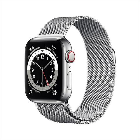 Apple 苹果 Series 6 智能手表 40mm GPS+蜂窝款 银色不锈钢表壳 米兰尼斯表带(血氧)