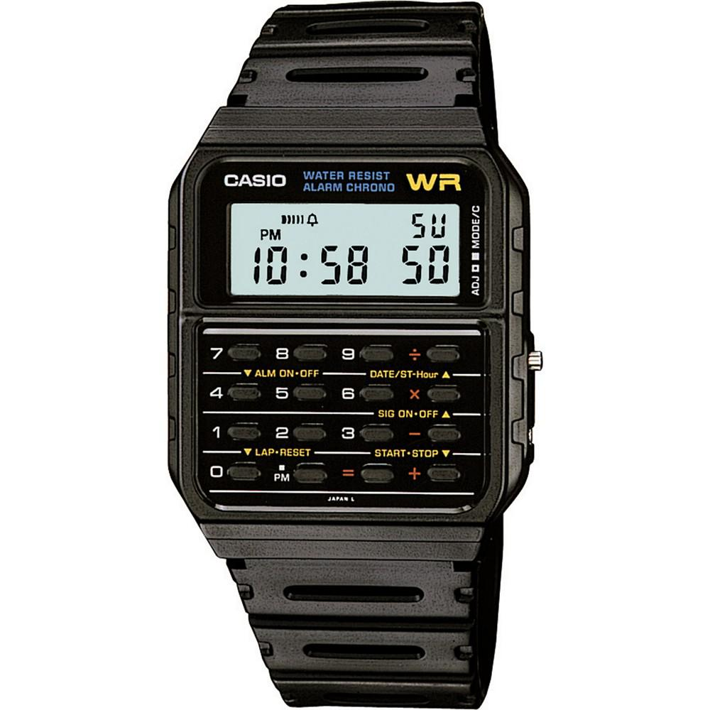 CASIO 卡西欧 Unisex Digital Calculator Black Resin Strap Watch 35mm