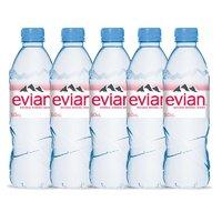 evian 依云 法国Evian/依云进口天然矿泉水弱碱性饮用水500ml*5瓶 粉箱英文版