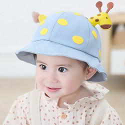童颜  婴儿帽子儿童遮阳帽春秋渔夫帽可爱立体卡通小鹿帽子 男女宝宝太阳帽 蓝色
