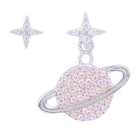 APM Monaco 星球925银镶晶钻不对称女士耳钉耳坠耳环送恋人