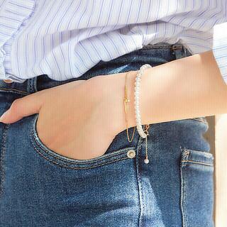 六福珠宝 mipearl系列 F87KBTB002Y 黄18K金珍珠手链