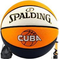 SPALDING 斯伯丁 斯伯丁(SPALDING)CUBA联赛比赛篮球室内外PU材质成人儿童蓝球 76-633Y
