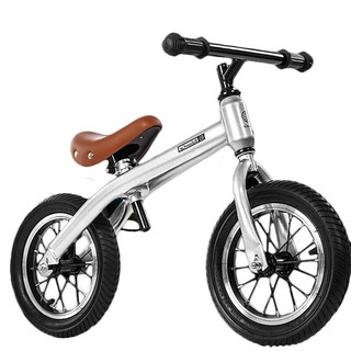 小探险家 儿童平衡车 滑步车 儿童无脚踏单车 宝宝滑行车平衡车 小孩1-3岁两轮 溜溜车 学步车 2号银色(赠打气筒)