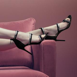 Saint Jack 专柜同款 圣积女鞋性感欧美风细跟超高跟鞋罗马凉鞋2021新品