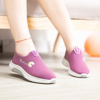 新款老北京布鞋轻便舒适软底女鞋一脚蹬休闲运动鞋防滑雏菊妈妈鞋