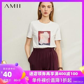 AMII Amii极简个性印花纯棉T恤2021春新款修身短袖40支莱卡棉女上衣