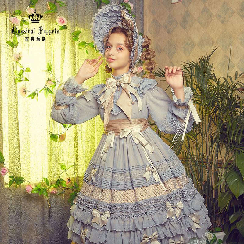 古典玩偶 少女人形十女 洛丽塔 OP有袖连衣裙 生成色 S
