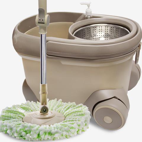 GULEINUOSI 古雷诺斯 古雷诺斯 旋转拖把桶 拖布甩干地拖墩布拖布桶木地板好神清洁工具 N673-01-卡其