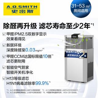AO史密斯空气净化器 家用除甲醛雾霾花粉净化数字显示除菌EB88