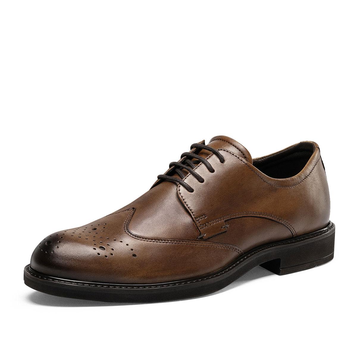商务正装皮鞋 秋季透气德比鞋休闲鞋男640524 琥珀色 42