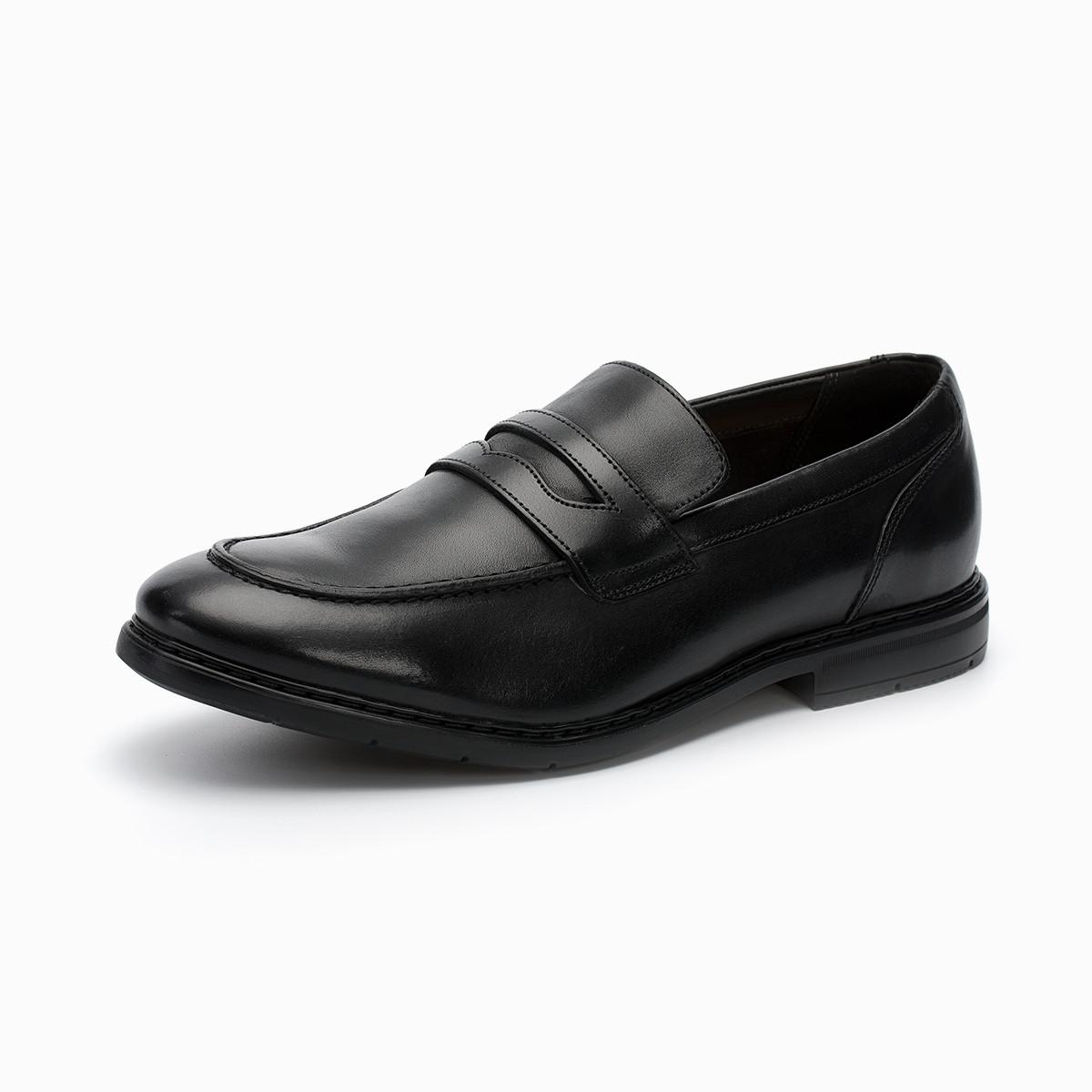 其乐男鞋休闲商务套脚便鞋Banbury Step时尚乐福皮鞋 261322557 黑色 40