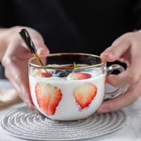 茶色早餐杯牛奶燕麦片玻璃杯子女家用水杯可爱大容量耐热咖啡带盖 透明杯*2
