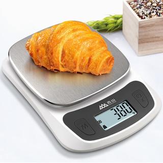 香山厨房秤电子秤0.1g高精度克秤家用烘焙秤不锈钢拉丝秤面珠宝秤 尊贵版(背光0.1克)