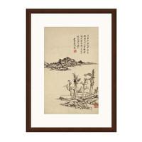 雅昌 王原祁 水墨画《溪岸图》背景墙装饰画 茶褐色 55×75cm 宣纸
