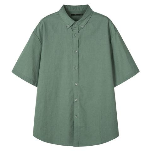 Semir 森马 潮流日系纯色衬衣翻领扣领宽松棉麻男式短袖衬衫男