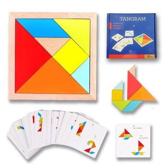 QZM 巧之木 巧之木 榉木质儿童经典大号七巧板 早教玩具创艺几何认知智力拼图 幼儿园小学生一年级教具用 礼物