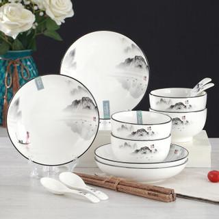 應州東進 釉中彩陶瓷碗盘套装 16头