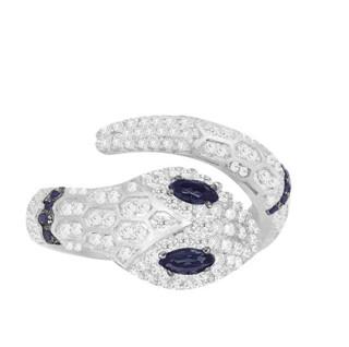 APM Monaco ARCHI NOIR系列 A19887XKB 女士灵蛇开口925银戒指