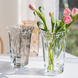 乐之沭 西班牙风格手工插花玻璃花瓶北欧欧式透明客厅摆件现代简约水培
