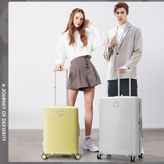 爱华仕行李箱女小型轻便20寸登机箱学生拉杆箱万向轮24寸旅行箱子(24寸、海盐白色)