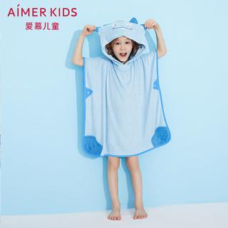 爱慕儿童男童男孩宝宝俏皮小萌怪卡通恐龙连帽浴袍浴巾(蓝色印花、48cm(120) )