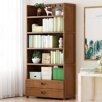 米囹 书架家用多功能置物架落地书柜收纳架