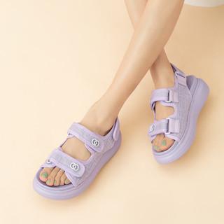HONGU 红谷 女鞋厚底网红罗马凉鞋魔术贴夏季仙女风女凉鞋女2021年新款