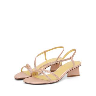 HONGU 红谷 女鞋时尚百搭一字带凉鞋露趾异形跟女鞋休闲女凉鞋