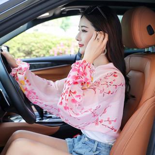 雪纺丝巾骑车装备开车防晒披肩女夏季薄款带袖外搭小袖套练车神器