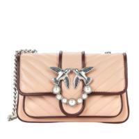 PINKO 品高 Love系列 女士羊皮皮革斜挎包 Pink/Bordeaux