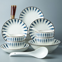 STANLEY 史丹尼 日式釉下彩餐具套装18件