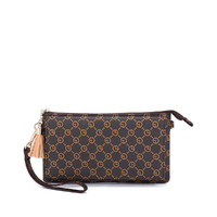 goldlion 金利来 复古印花女士手拿包时尚撞色流苏女手包钱包
