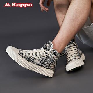Kappa卡帕情侣男女高帮帆布鞋休可撕双层鞋面板鞋休闲泡芙鞋