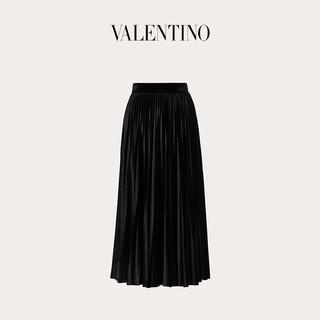 Valentino/华伦天奴女士 黑色褶饰天鹅绒短裙(S、黑色)