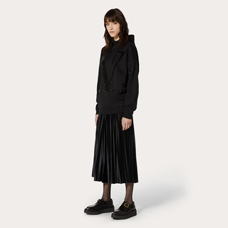 Valentino/华伦天奴女士 黑色褶饰天鹅绒短裙(M、黑色)
